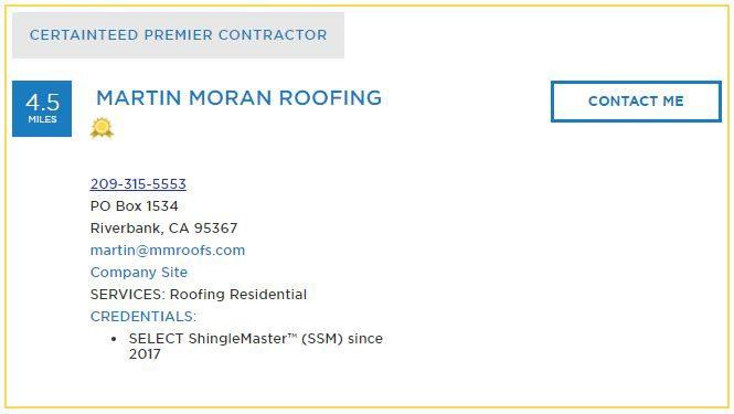 Certainteed Premier Contractor Martin Moran Roofing